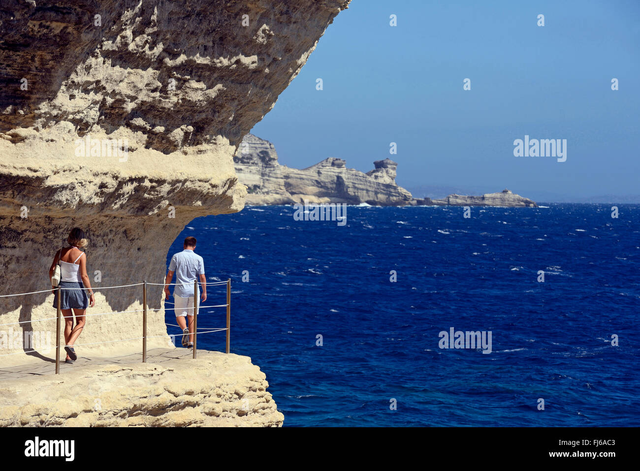 Footpath at the steep coast, the botton of 'Stairway of the King of Aragon', France, Corsica, Bonifacio - Stock Image