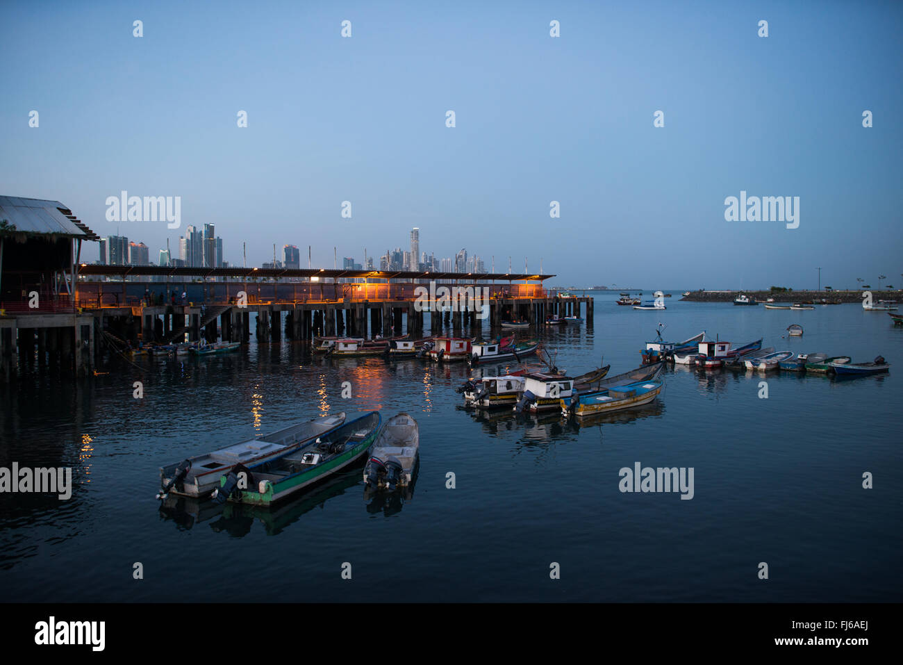 PANAMA CITY, Panama--Small fishing boats anchored in a small protected harbor on the waterfront of Panama City, - Stock Image
