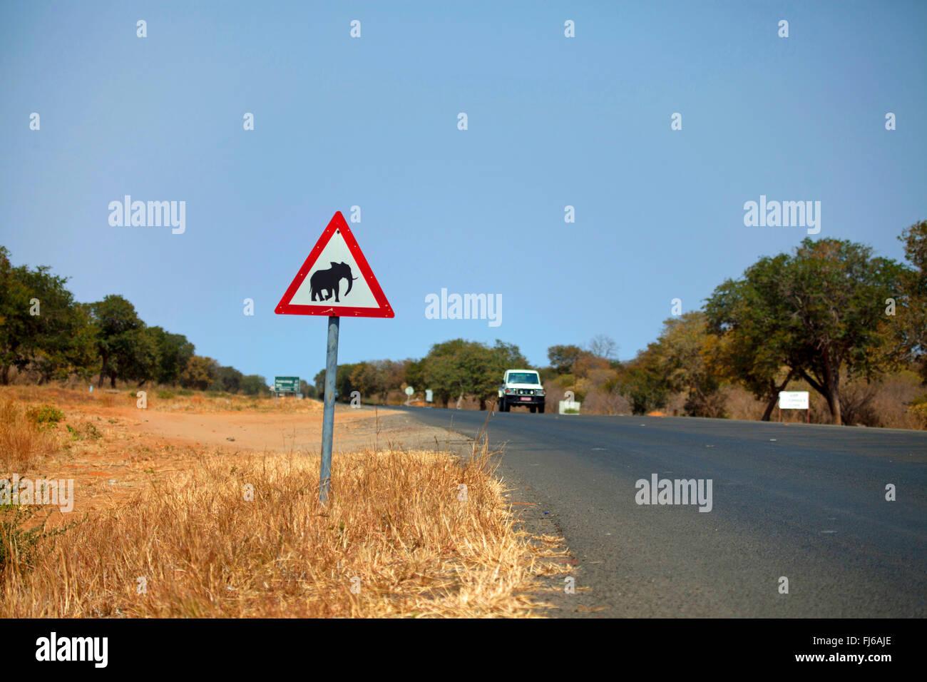 road sign 'crossing elephants', Botswana - Stock Image
