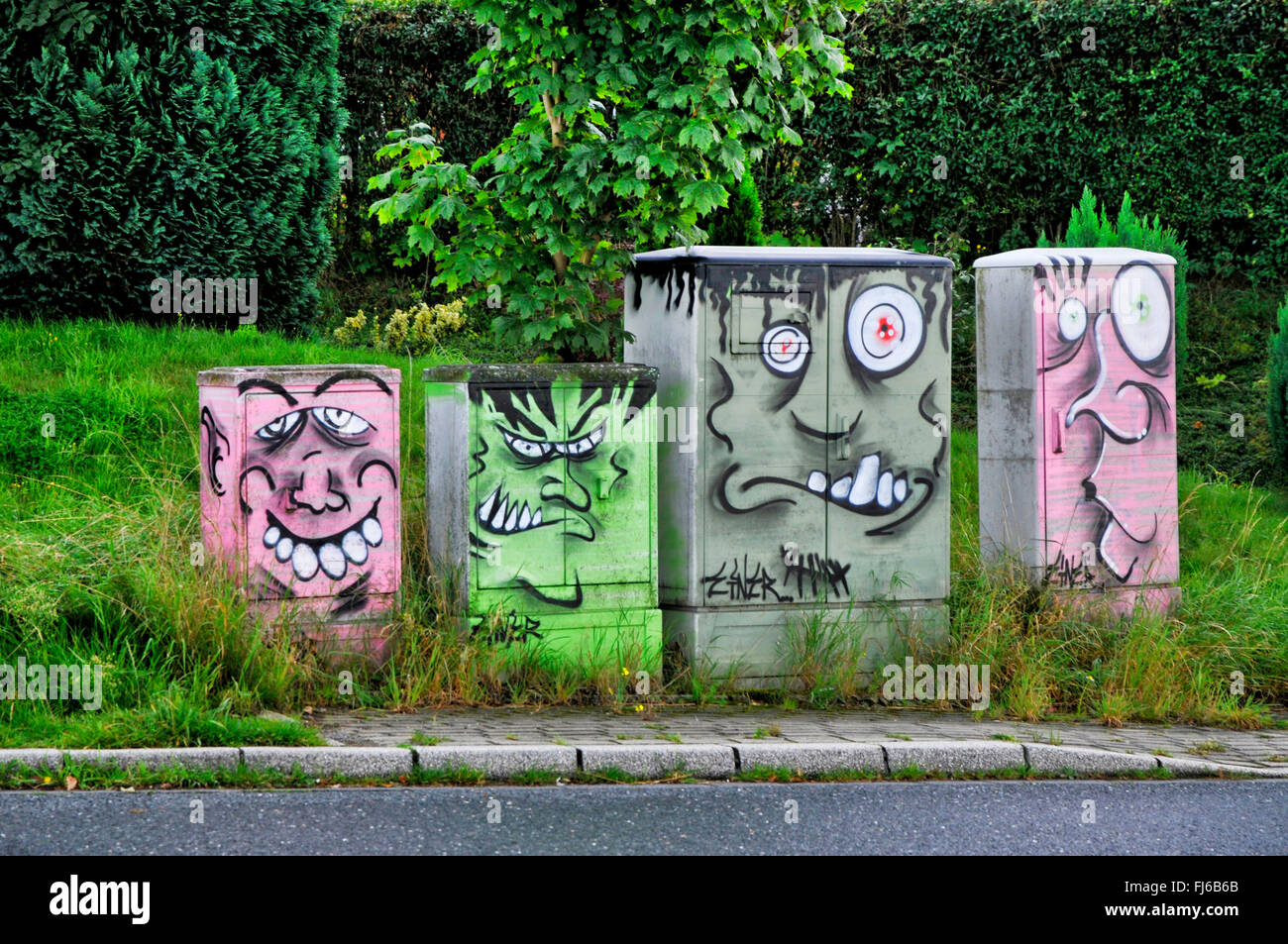 fuse box monsters, Germany, North Rhine-Westphalia, Ruhr Area, Bochum Stock Photo