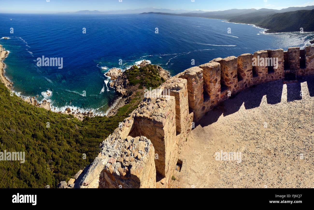 Genoese tower of Capu di Muro, France, Corsica, Ajaccio - Stock Image
