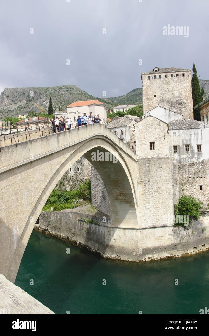 Stari Most (old bridge) in Mostar, Bosnia and Herzegovina - Stock Image
