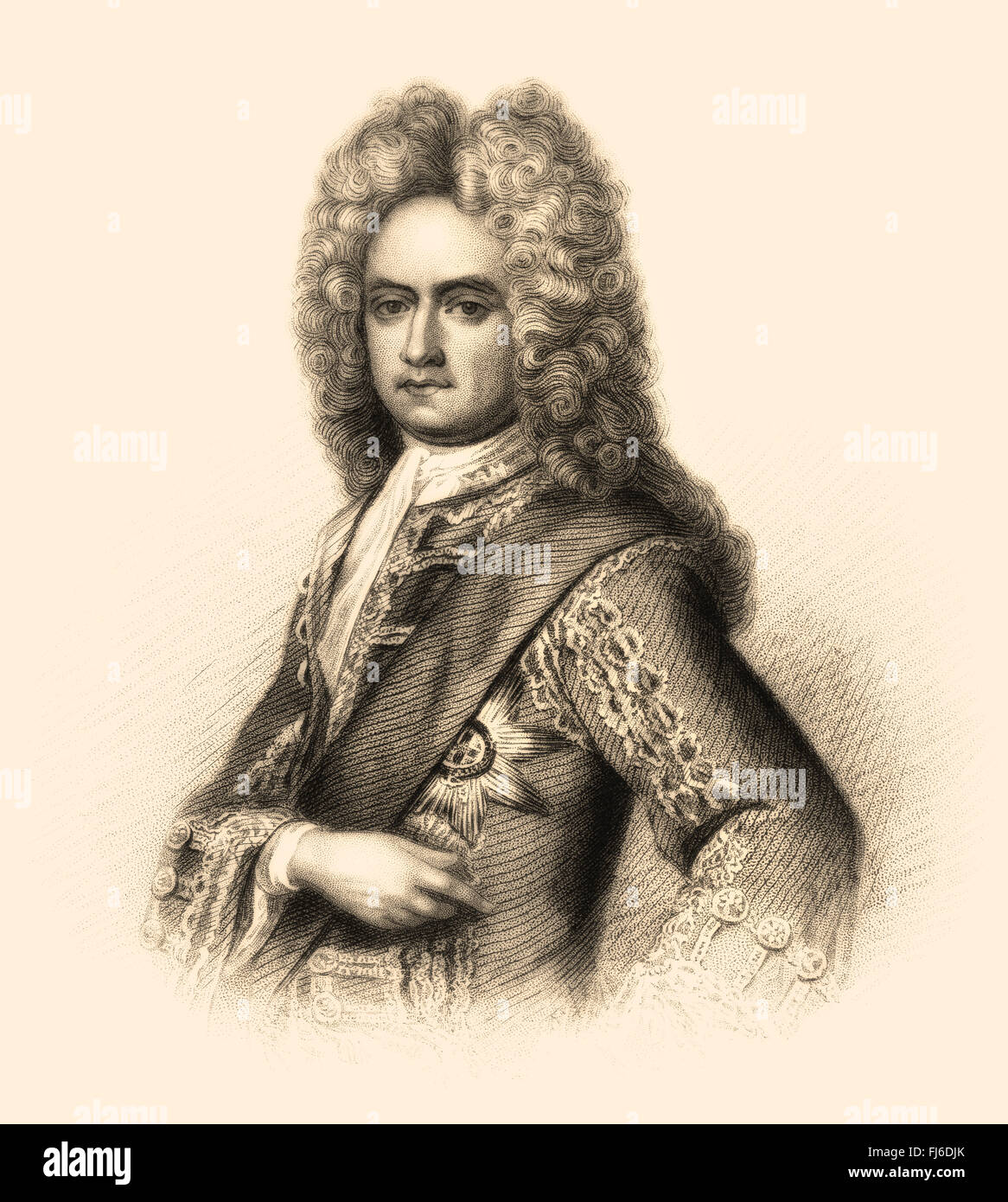 Charles Mordaunt, 3rd Earl of Peterborough and 1st Earl of Monmouth, 1658-1735, an English nobleman and military Stock Photo