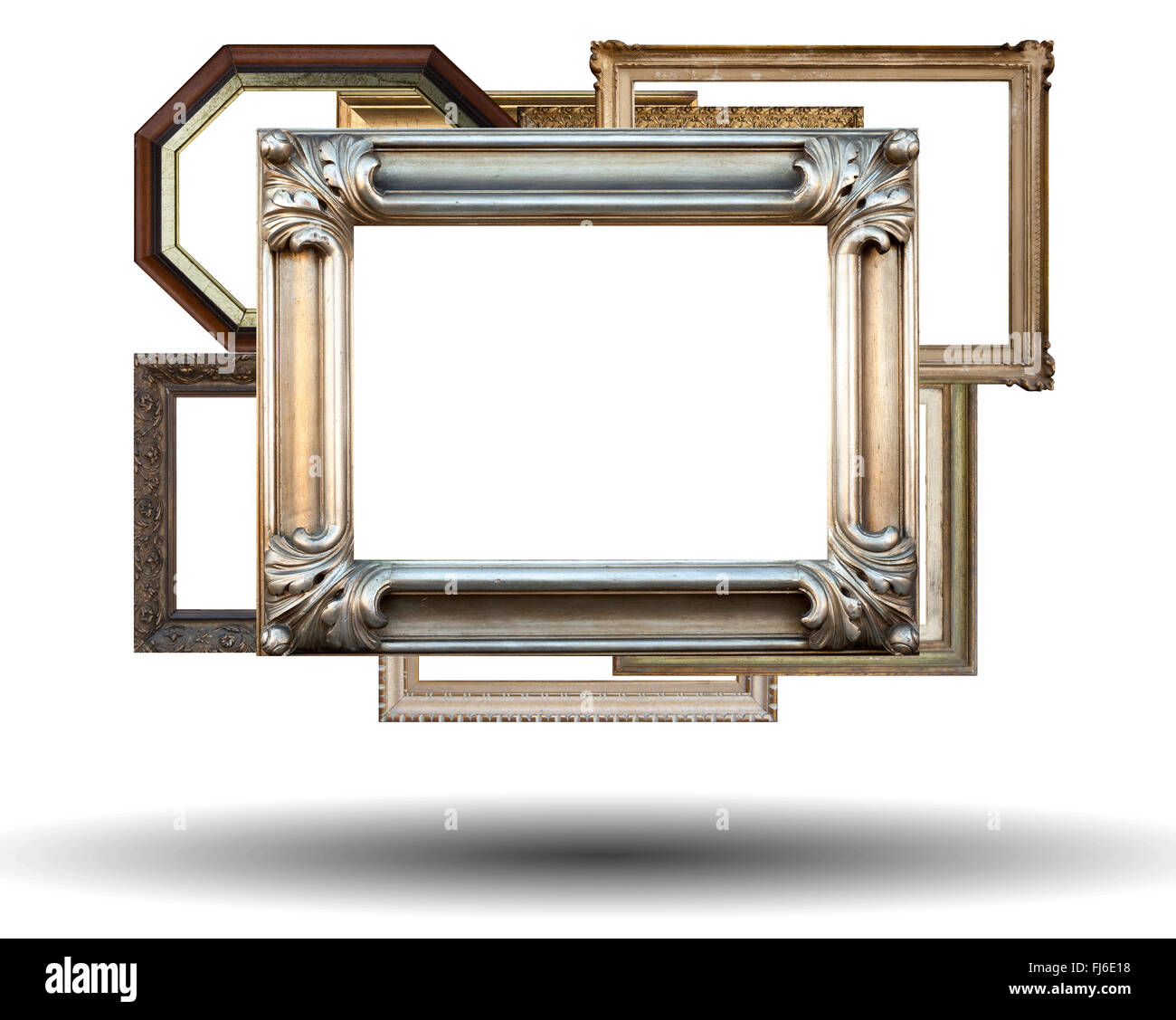 Many frames isolated on a white background - Stock Image
