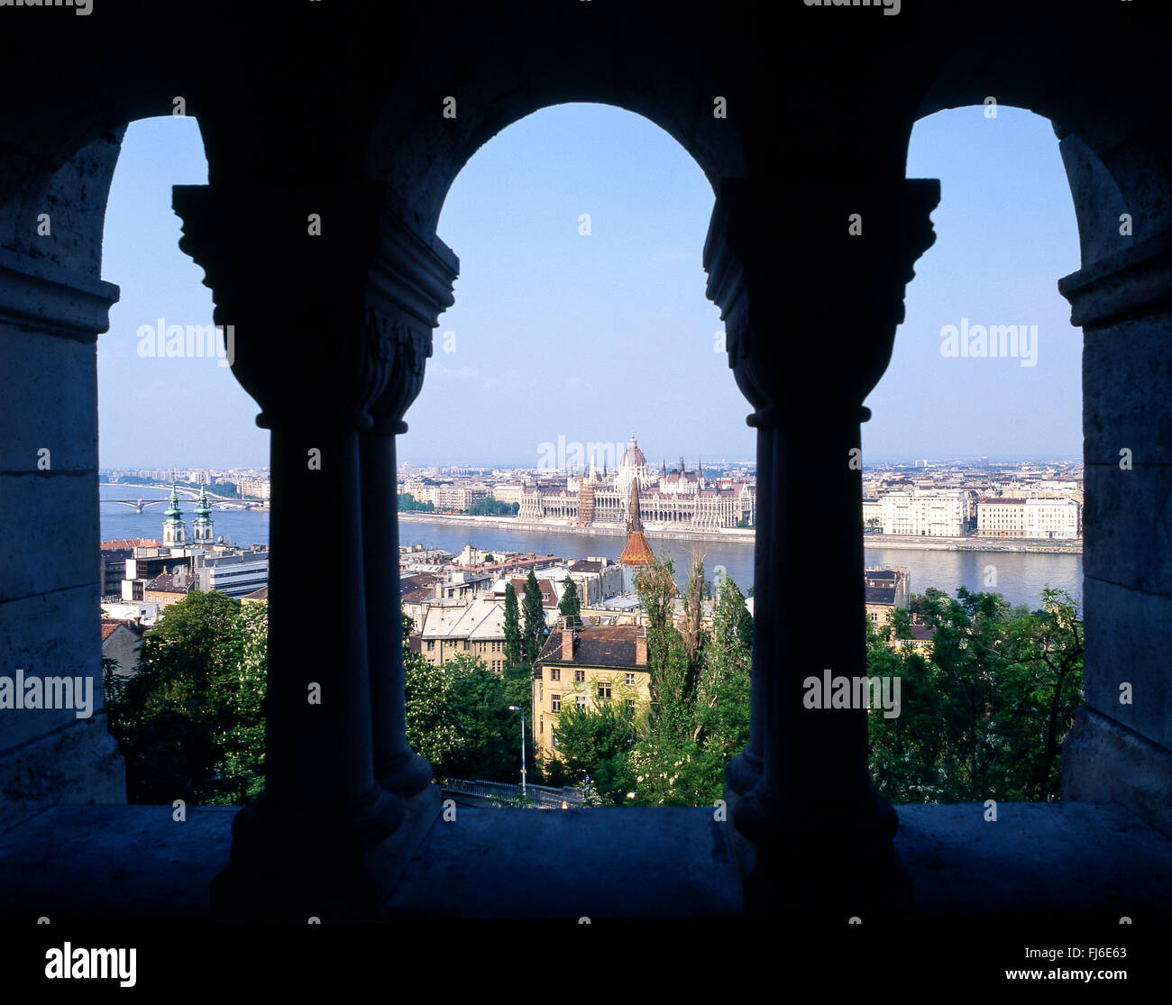 City view from Fisherman's Bastion, Castle Hill, The Castle District, Buda District, Budapest, Republic of Hungary - Stock Image