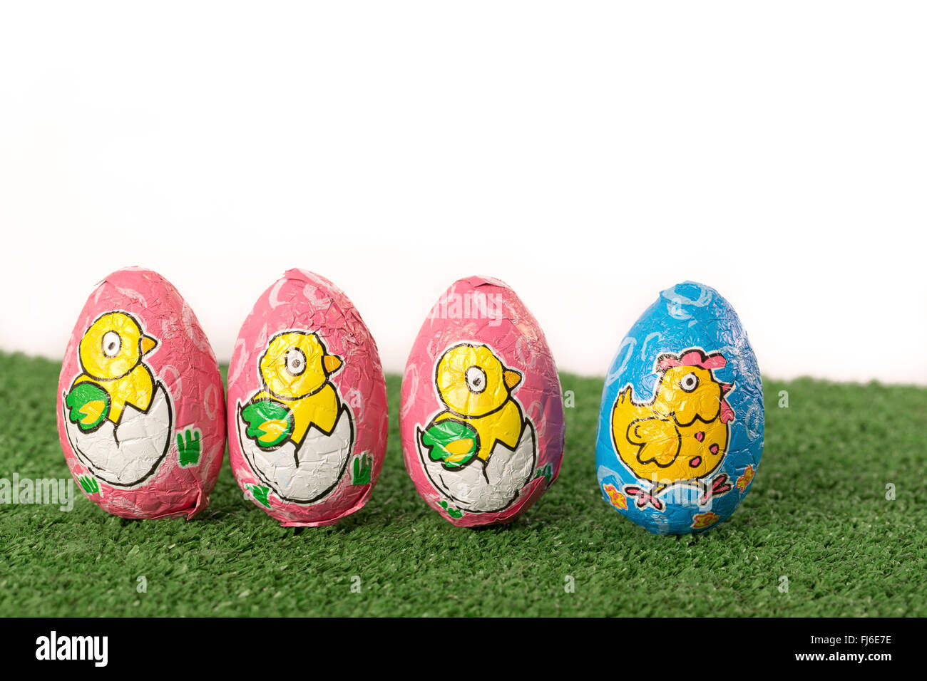 Easter eggs chocolate on grass Stock Photo