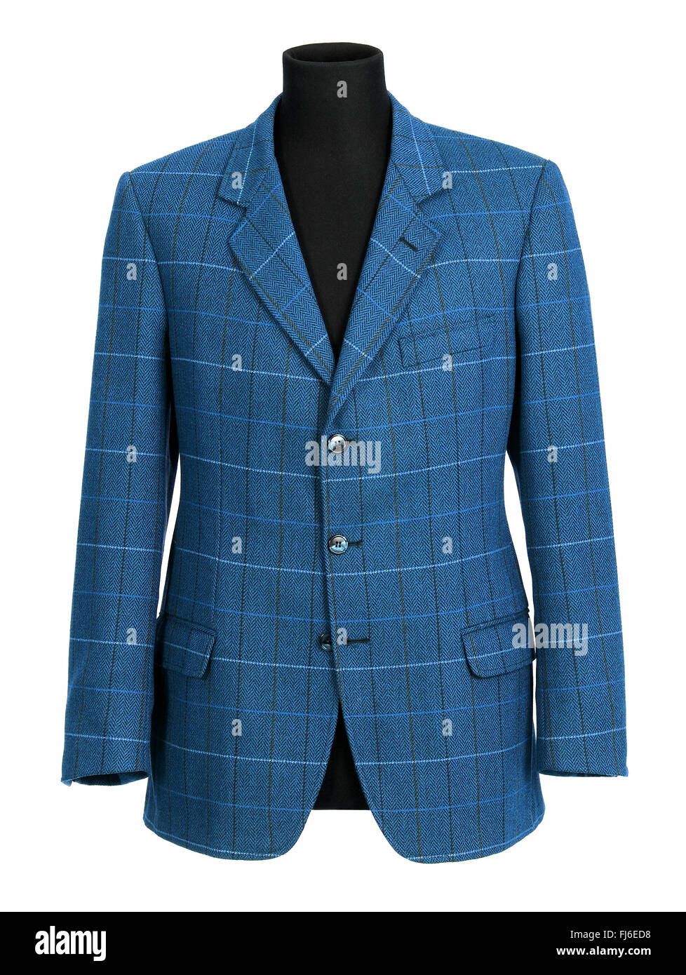 Stylish tailored blue jacket for a man with a checked pattern displayed on a half mannequin isolated on white - Stock Image