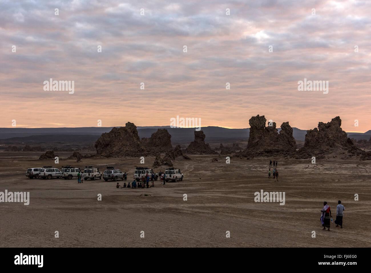 Rock Formations at dawn Lake Abbe, Djibouti, Africa Stock Photo