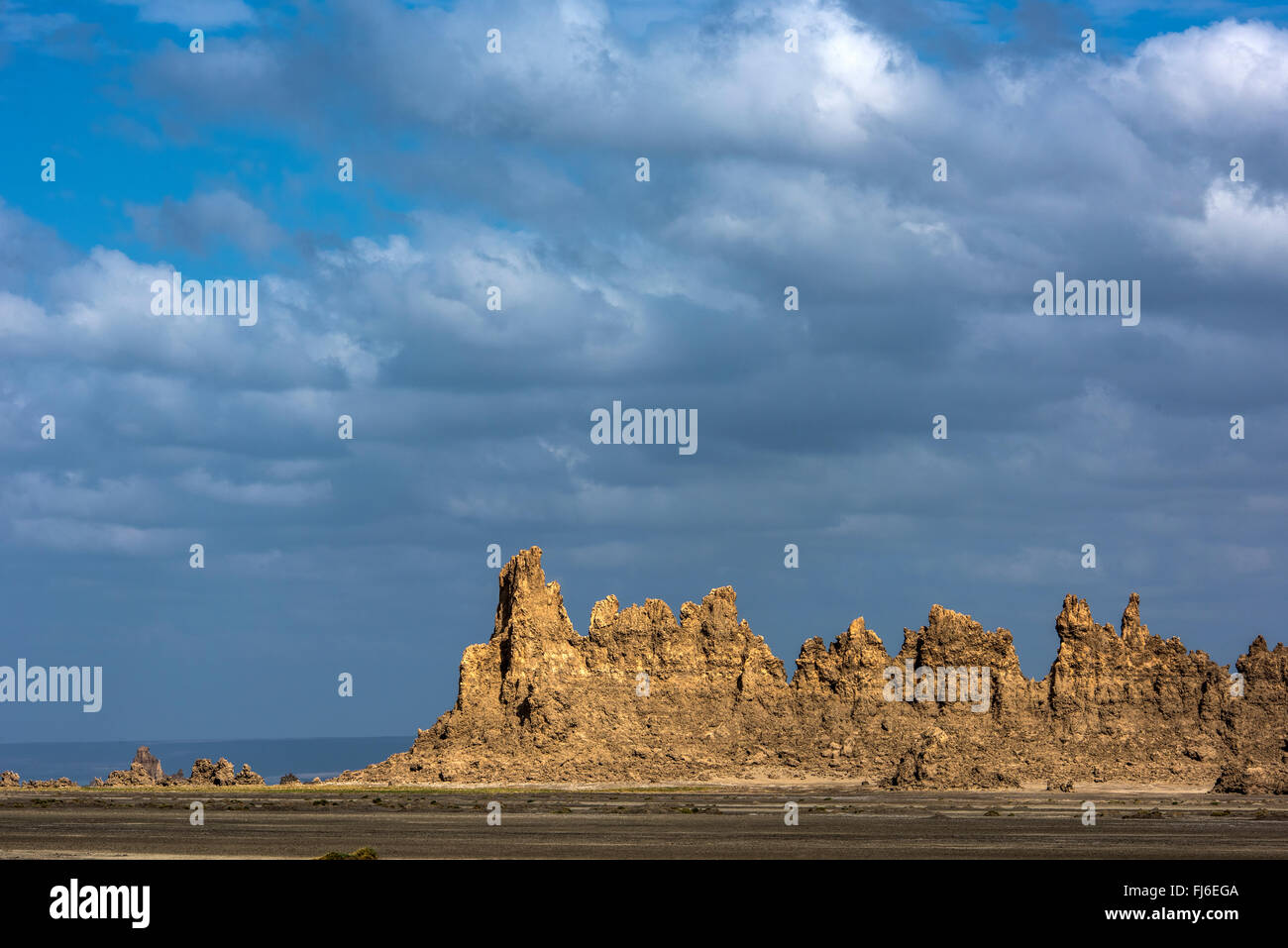 Rock Formations at dawn Lake Abbe, Djibouti, Africa - Stock Image