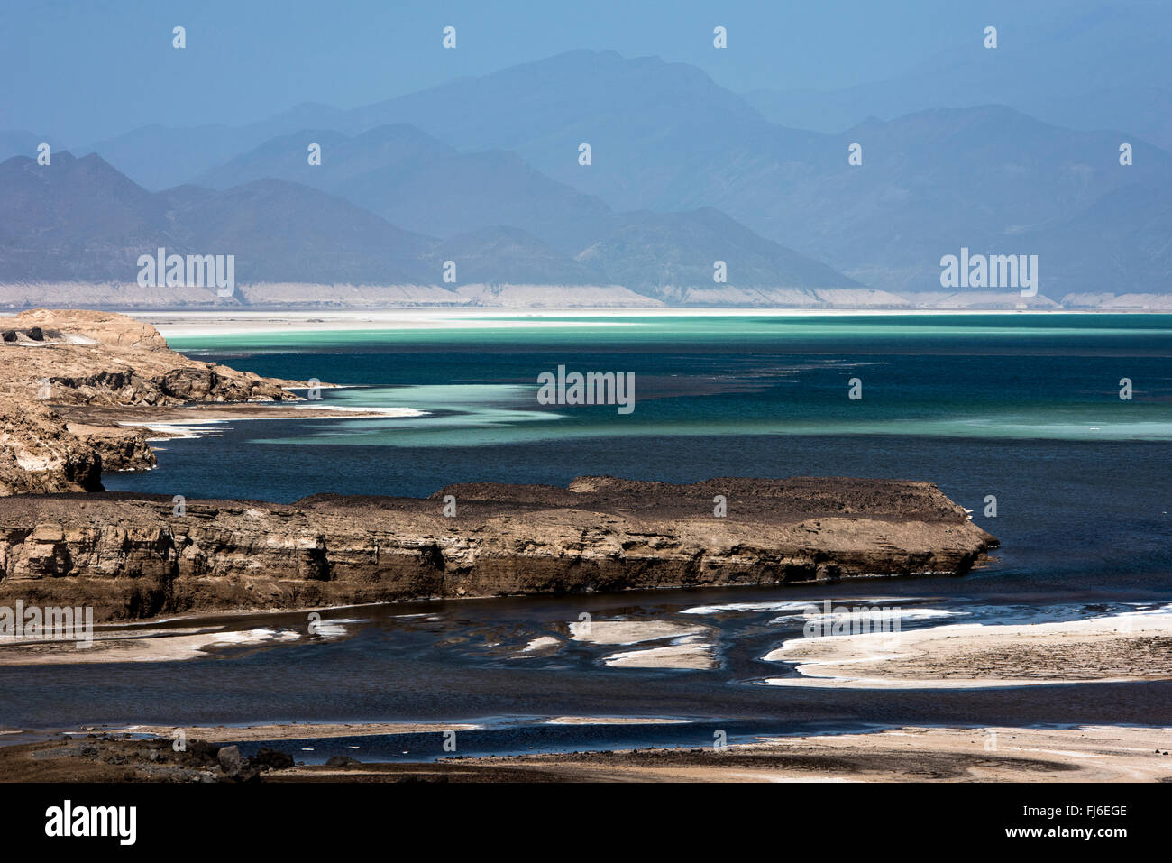 Salt Reserve Lake Assal, Djibouti, Africa - Stock Image