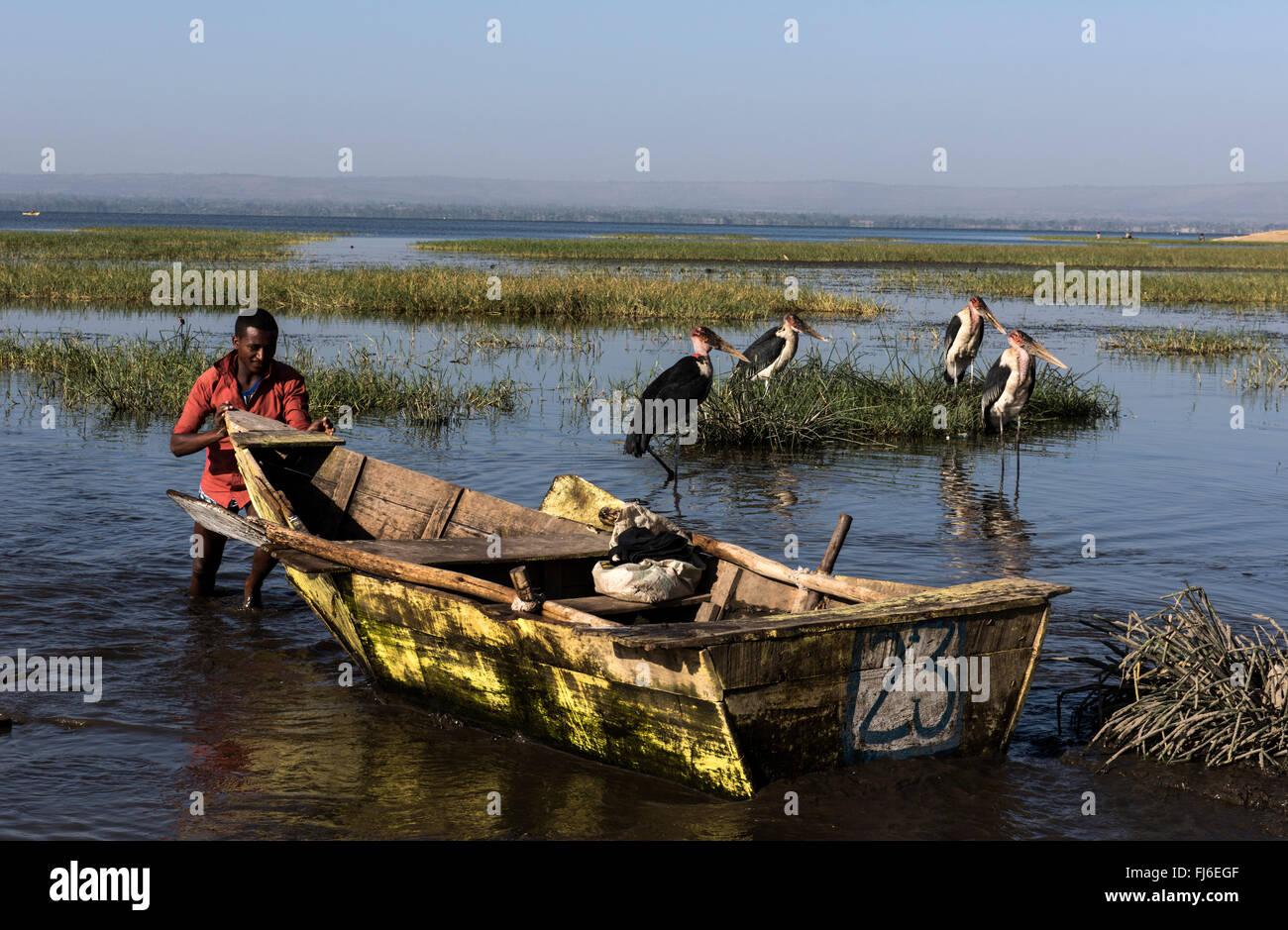 Local people fishing Awasa Lake, Ethiopia, Africa - Stock Image