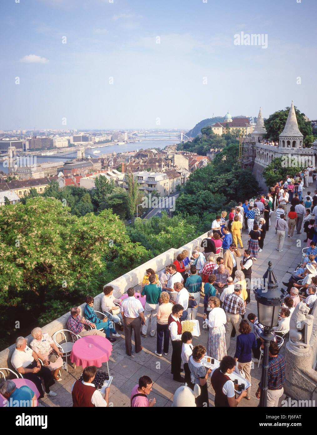 Drinks on terrace of Fisherman's Bastion,(Halászbástya), The Castle District, Buda District, Budapest, Republic Stock Photo
