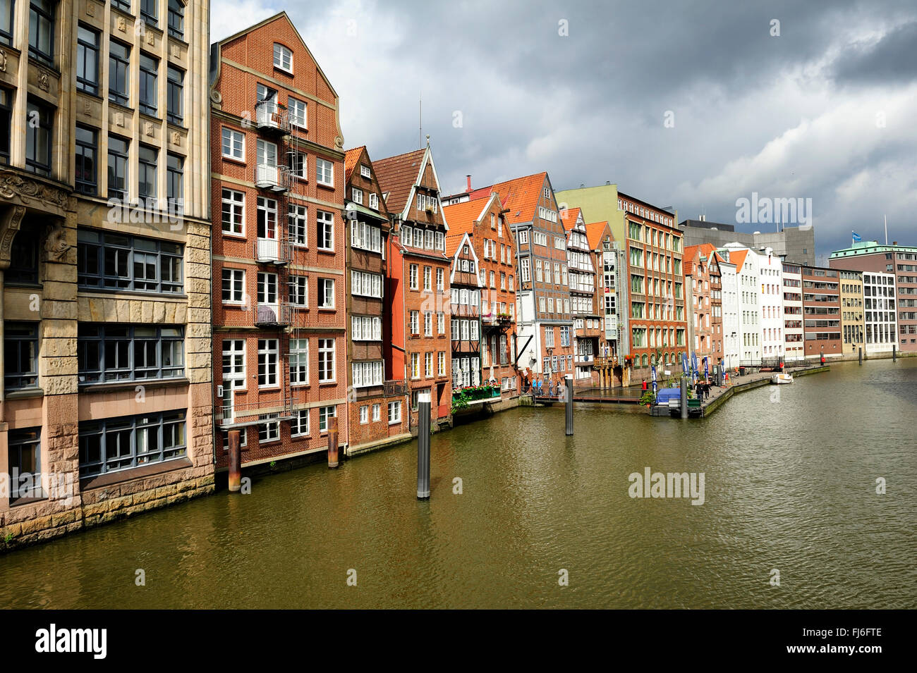 historic timber-framed houses at Nikolaifleet, Altstadt district, Hamburg, Germany - Stock Image