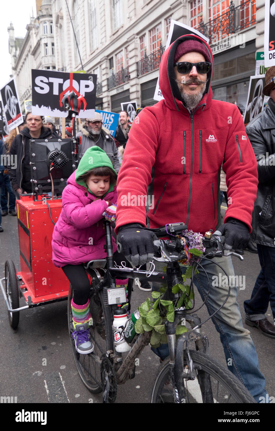 Trident CND protest through Central London was biggest anti-nuclear march a generation Feb 28th 2016 - Stock Image