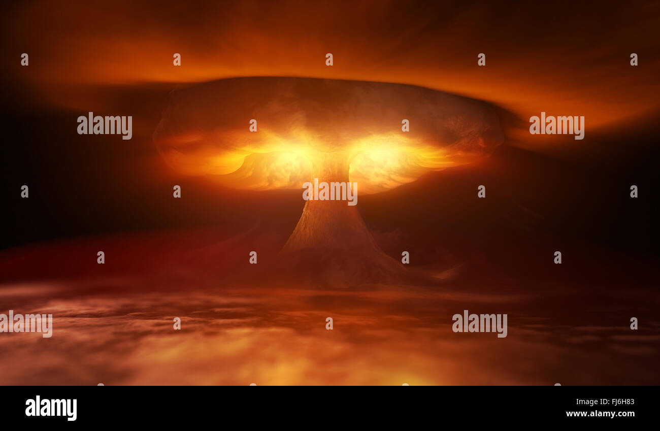 Nuclear Explosion and waves in sky - Stock Image