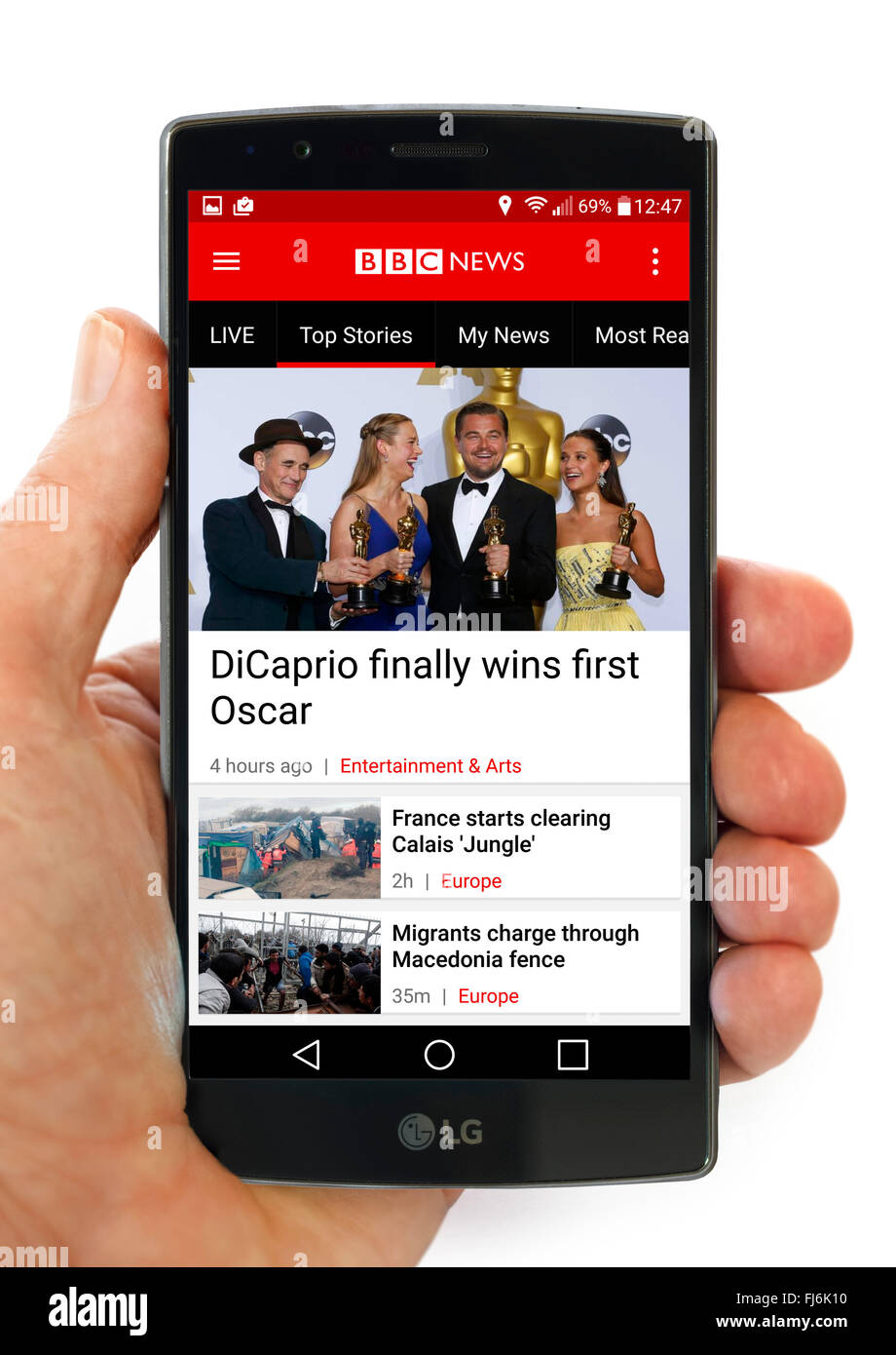 The BBC News App on an LG G4 5.5 inch Android smartphone - Stock Image