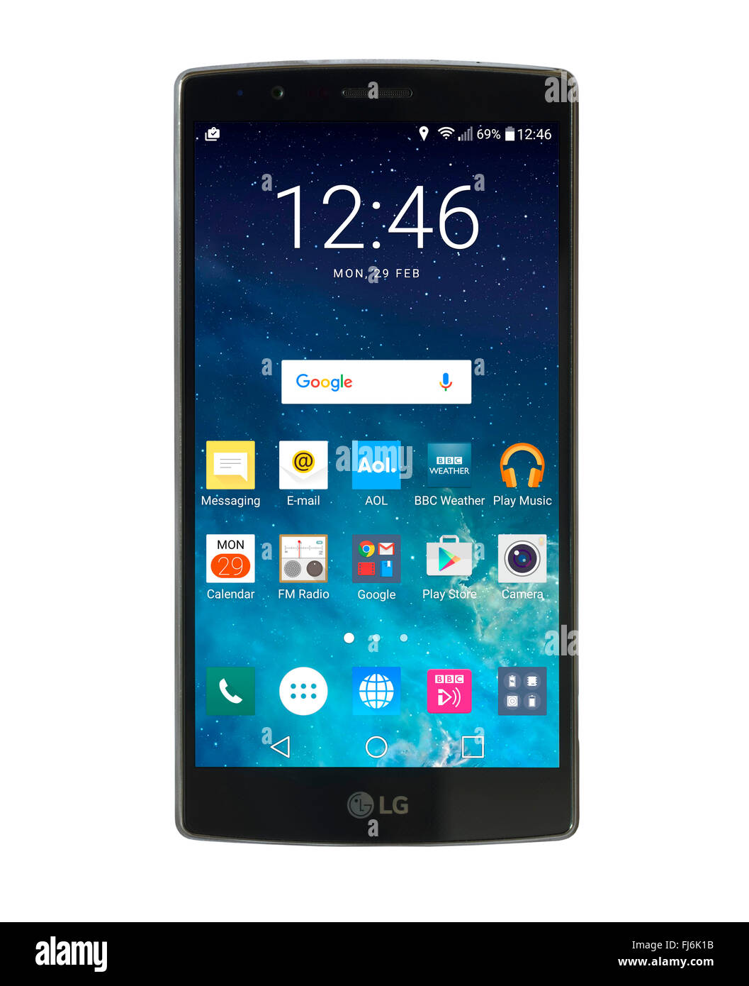 Home screen on an LG G4 5.5 inch Android smartphone  running Android 6 Marshmallow - Stock Image