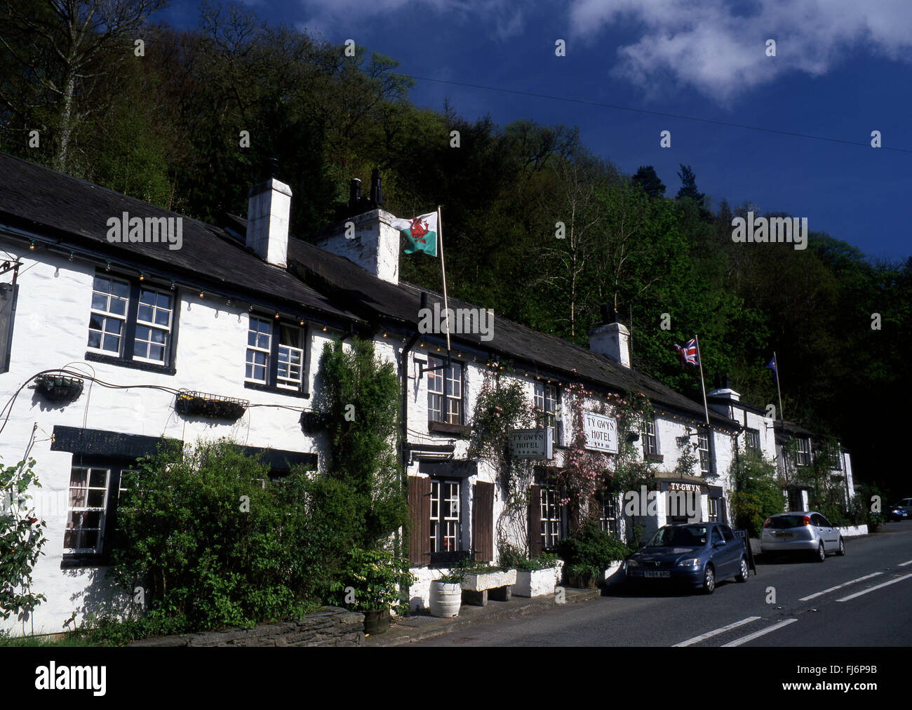 Ty Gwyn Hotel on main A470 road Betws-y-Coed Conwy County Snowdonia North Wales UK - Stock Image