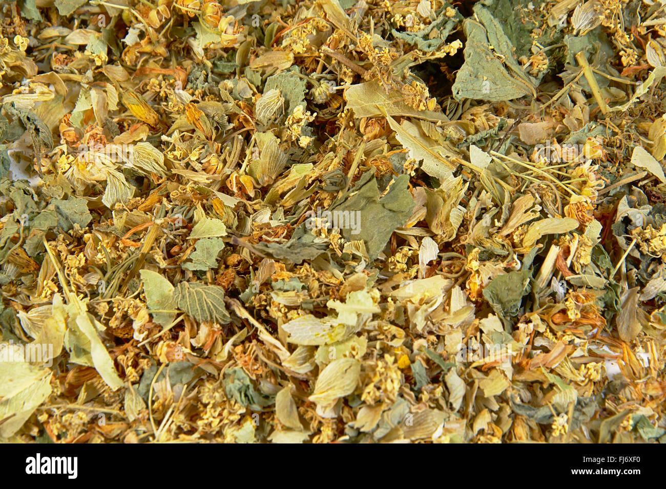 herbal stomach and bowel supporting tea. (lemon balmleaf, spearmint leaf, chamomile flower, calendula flower,meadowsweet) - Stock Image