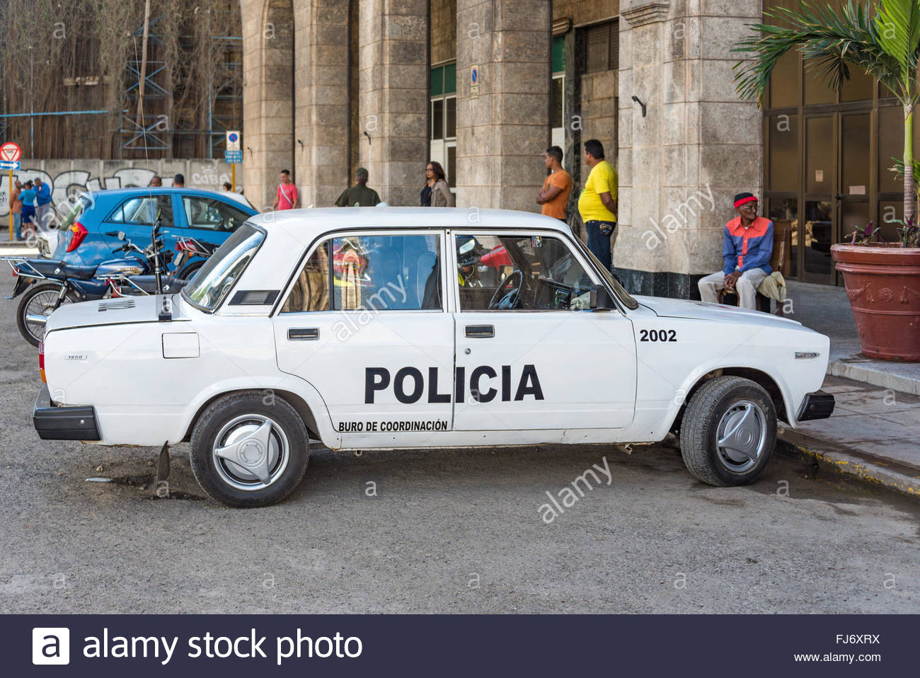 Havana Cuba Lada Cuban Police Car Parked In Front Of Havana Stock