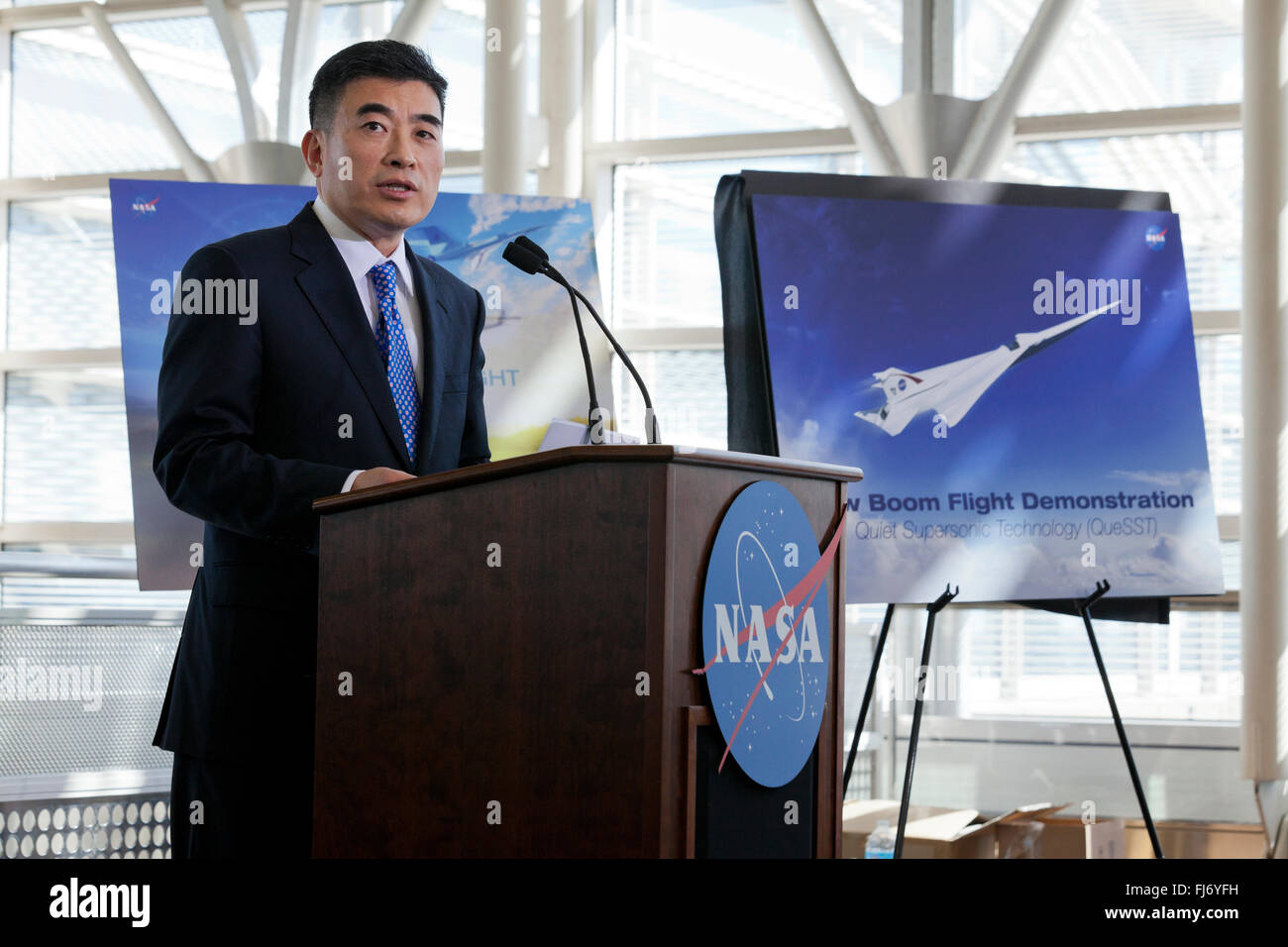 Washington, DC, USA. 29th February, 2016. NASA administrator Charles Bolden announces the return of supersonic passenger - Stock Image