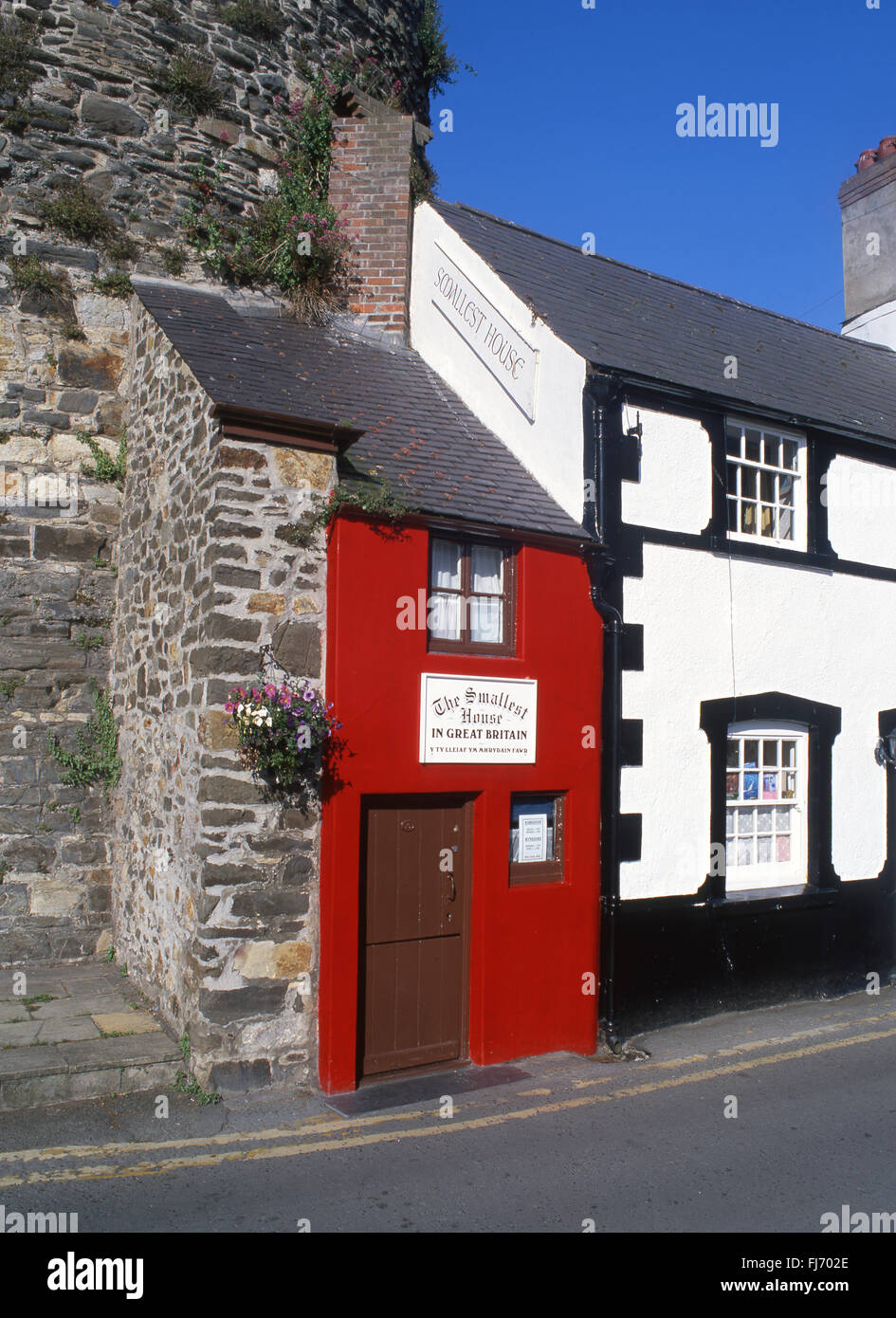 Smallest House in Great Britain on Conwy Quay Conwy North Wales UK - Stock Image
