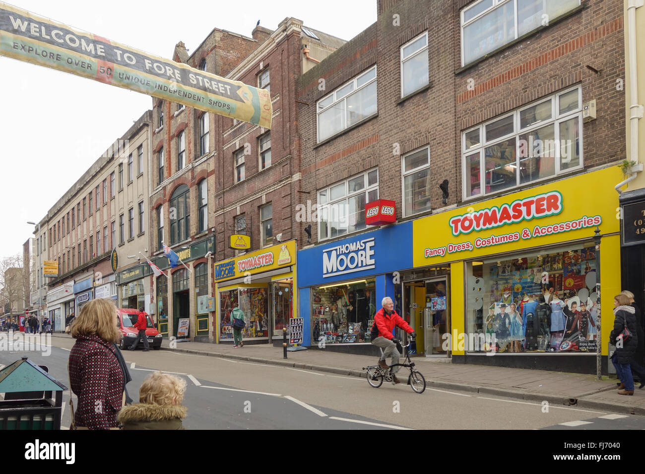 Thomas Moore Toymaster independent toy shop on Fore Street, Exeter - a street renowned for its independent shops - Stock Image