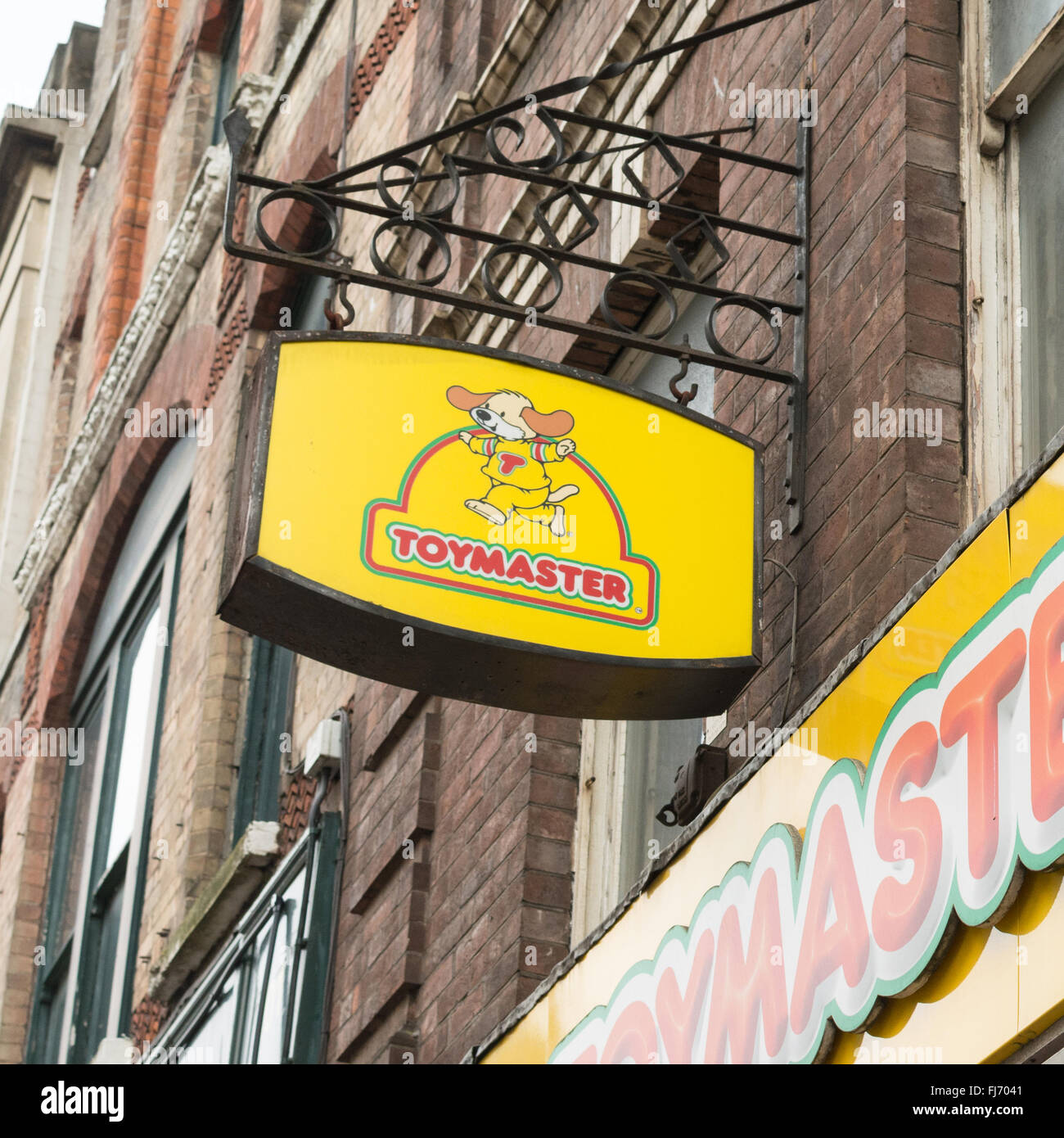 Toymaster Sign above Thomas Moore independent toy shop on Fore Street, Exeter, Devon, England - Stock Image