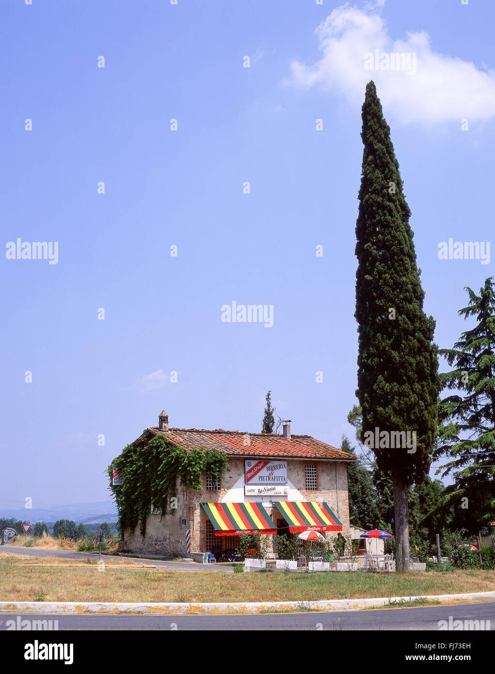 Small rural restaurant near Lucca, Province of Lucca, Tuscany Region, Italy - Stock Image