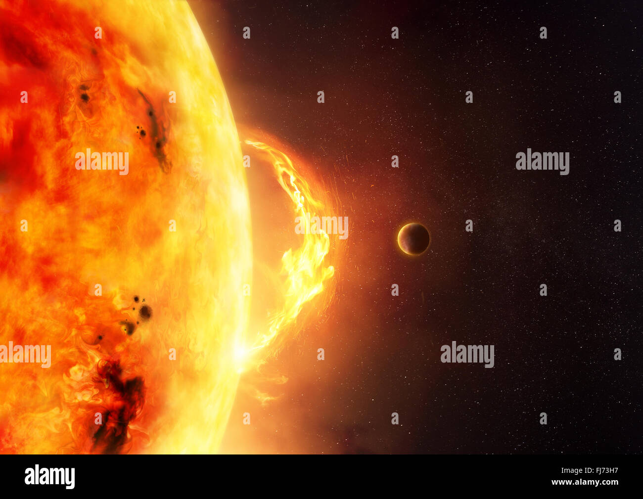 The Sun - Solar Flare. An illustration of the sun and sun flare with a planet to give scale to the size of the flare. - Stock Image