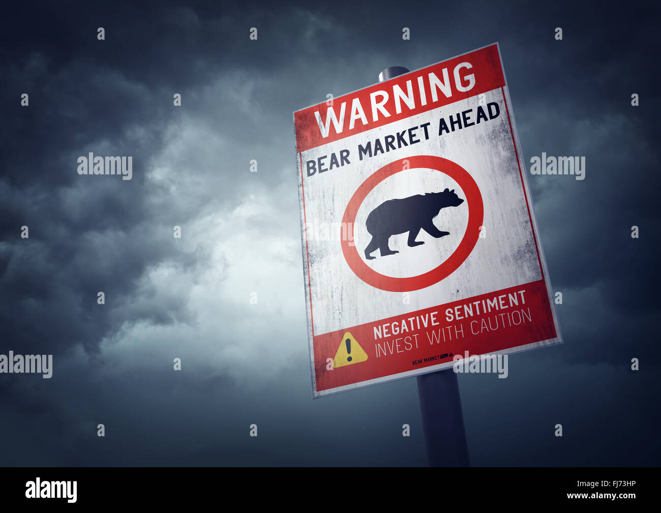 Bear stock market warning sign with growing storm clouds. - Stock Image
