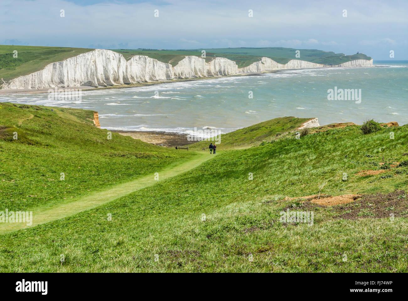 Seven Sister Cliff Formation near Eastbourne, East Sussex, South England    Seven Sisters Kreidefelsen, Suedengland - Stock Image