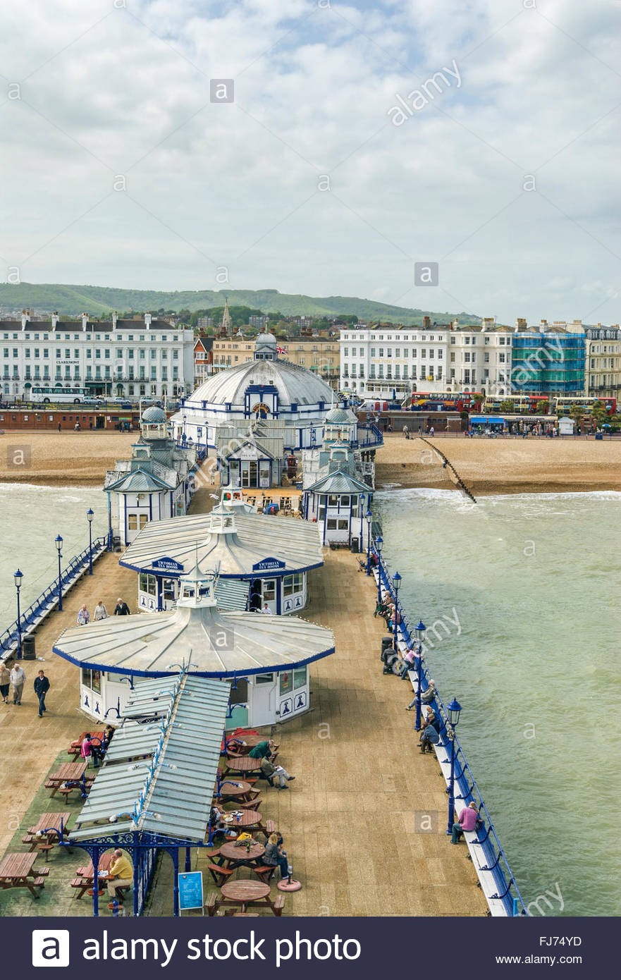 View over the Eastbourne Waterfront and Pier, East Sussex, South England   Aussicht ueber die Strandpromenade von - Stock Image