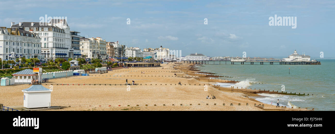 View over the Eastbourne Waterfront and Pier, East Sussex, South England | Aussicht ueber die Strandpromenade von - Stock Image