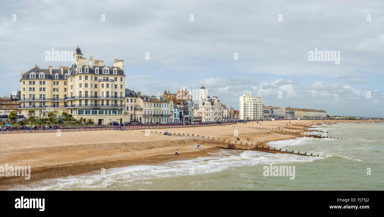 Eastbourne Beach with cloudy sky, East Sussex, South England Stock Photo