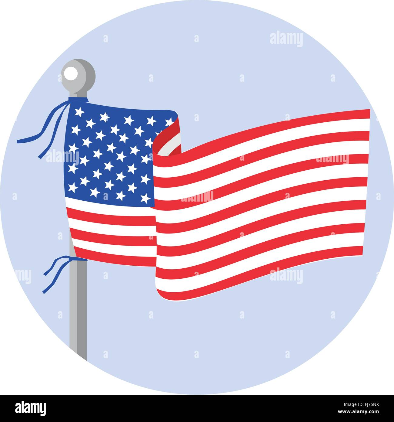 Illustration of usa american stars and stripes flag on flagpole set inside circle done in cartoon style. - Stock Vector
