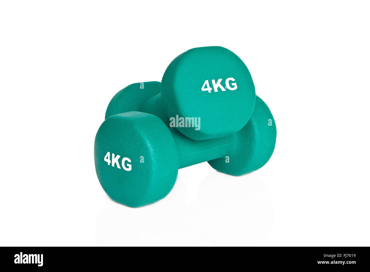 Green 4kg dumbbells isolated on white background. Weights for a fitness training. - Stock Image
