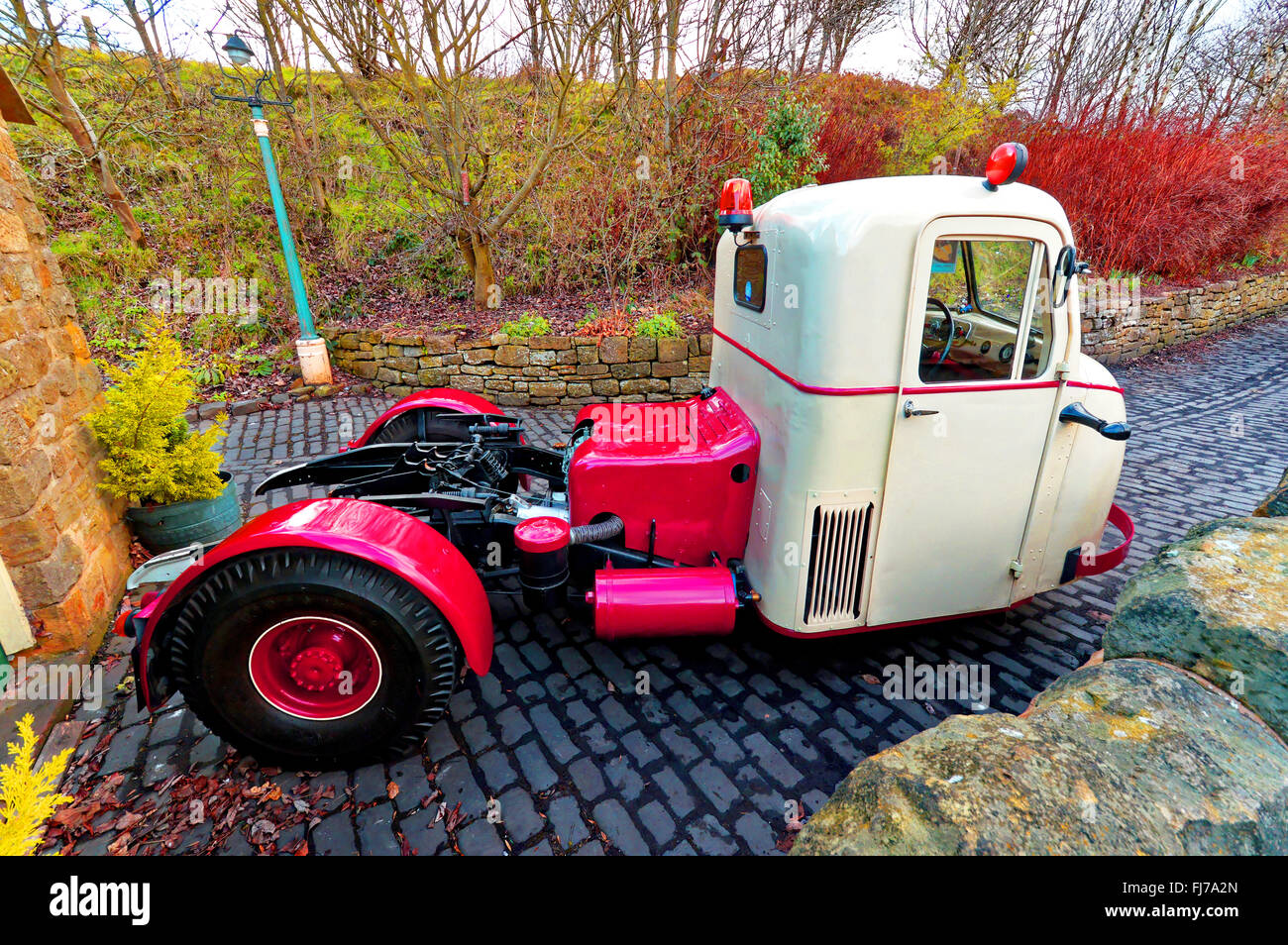 1964 Scammell Scarab three wheeler lorry at Tanfield Railway side view - Stock Image
