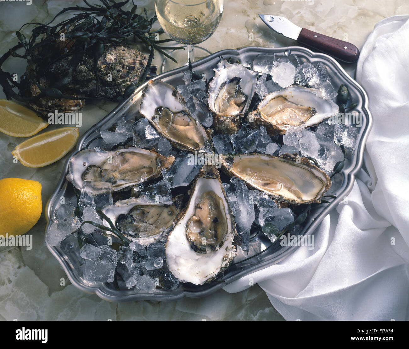 Tray of fresh oysters in shells, Whitstable, Kent, England, United Kingdom - Stock Image