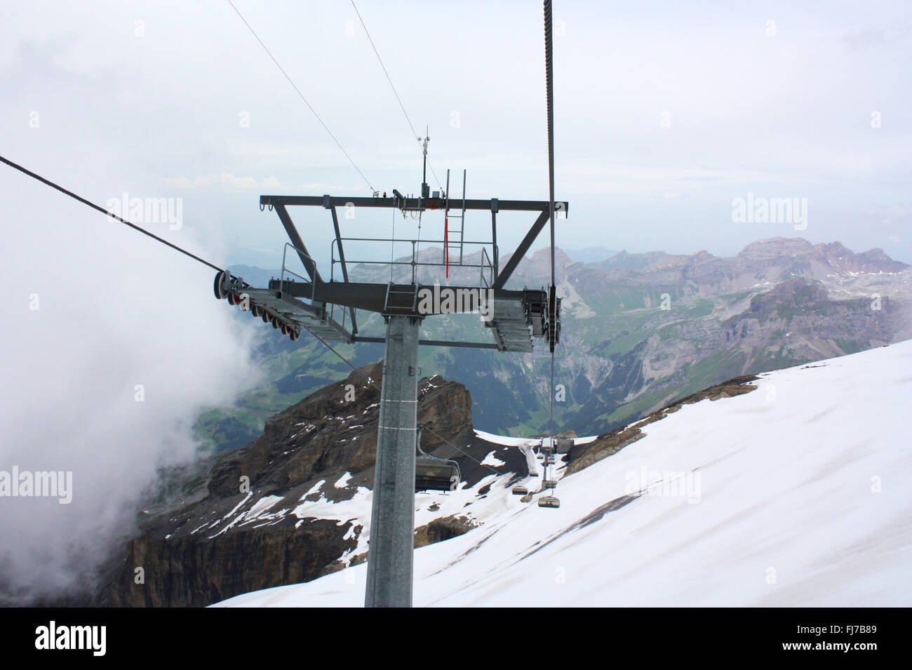 Cable car in mount Titlis in Switzerland Stock Photo