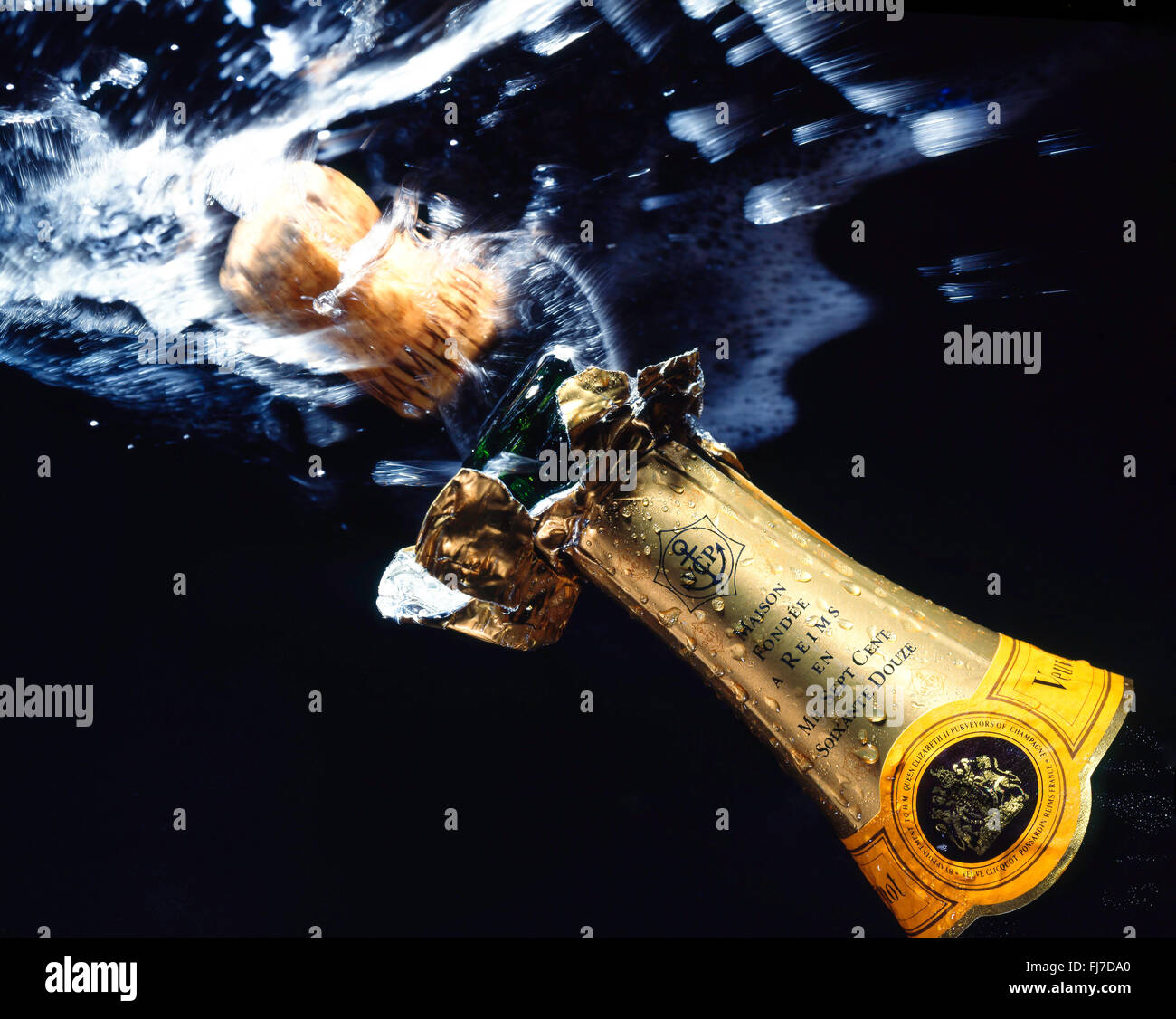 Veuve Clicquot champagne cork popping, London, England, United Kingdom - Stock Image