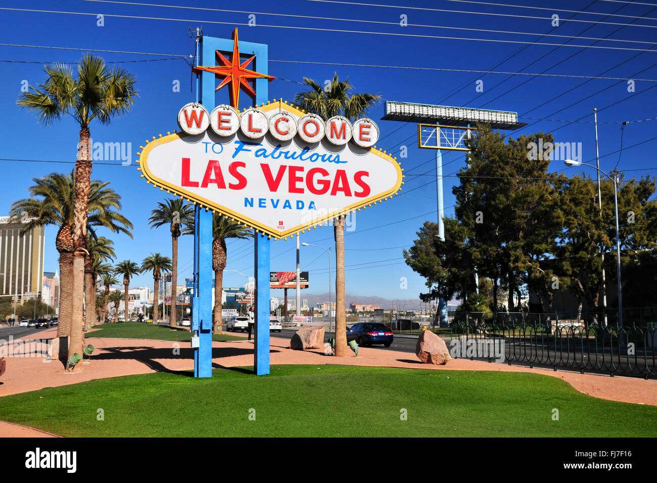 The famous sign (billboard) on Las Vegas Strip, Las Vegas, Nevada, USA - Stock Image