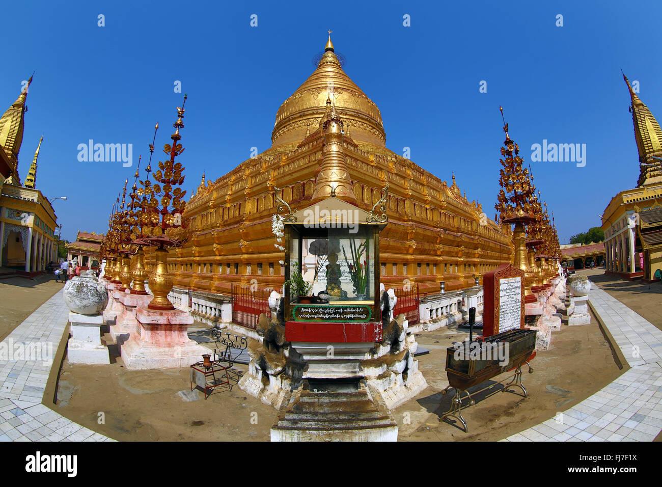 Shwezigon Paya Pagoda in Nuang U, Bagan, Myanmar (Burma) Stock Photo