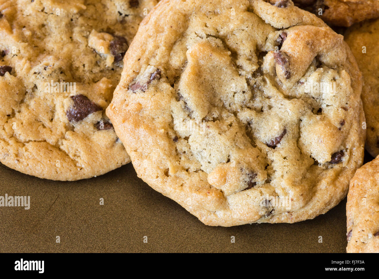 Homemade chocolate chip cookies on baking tray Stock Photo