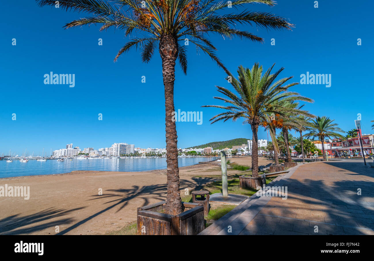 Mid morning sun on Ibiza waterfront.  Warm sunny day along the beach in St Antoni de Portmany Balearic Islands, - Stock Image