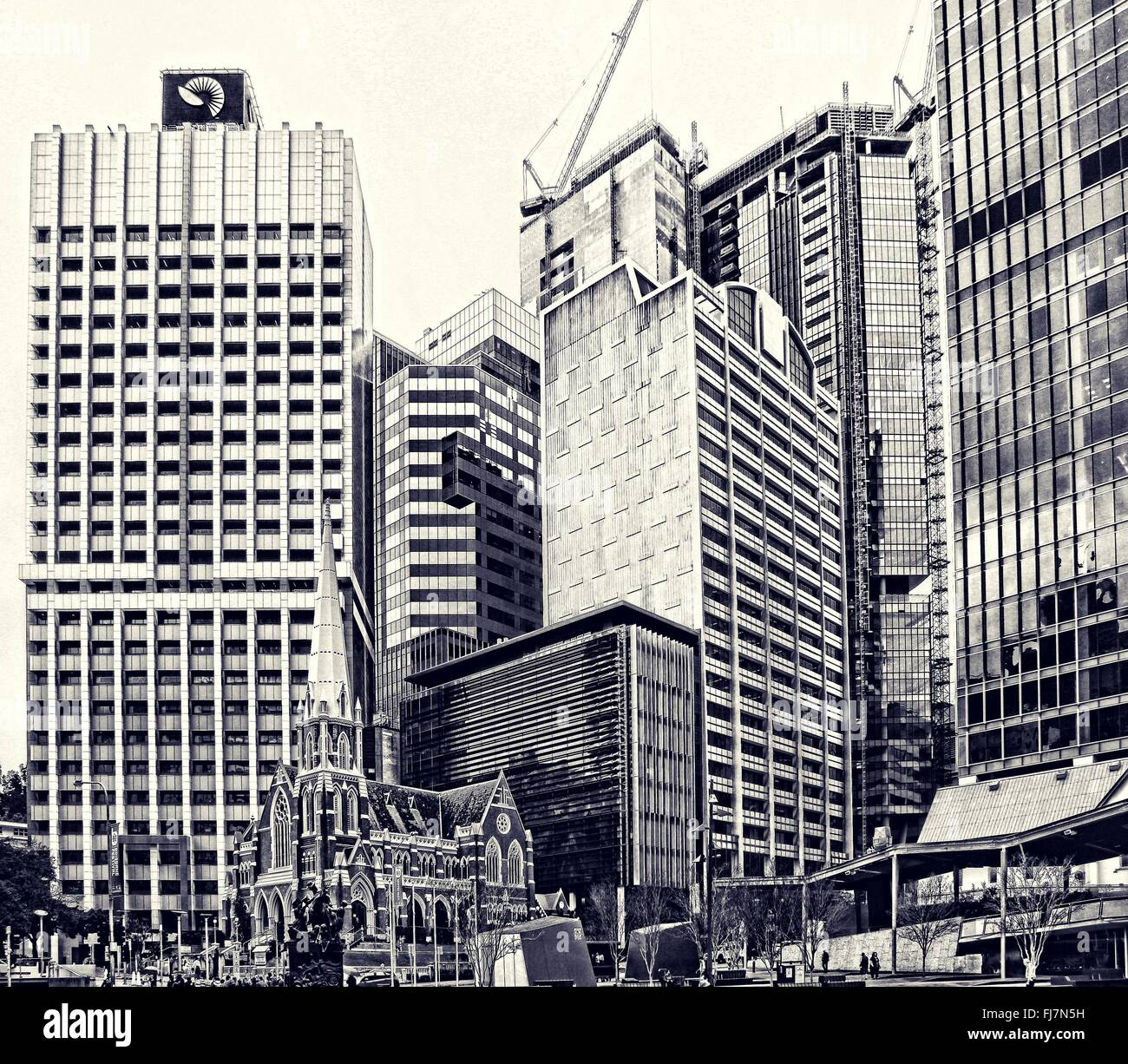 Brisbane city skyline viewed from King George Square in blueprint style - Stock Image
