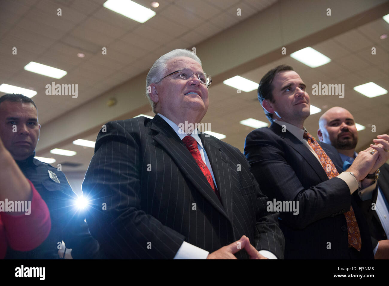 Controversial Christian pastor John Hagee listens to Republican presidential nominee candidate Ted Cruz speak at - Stock Image