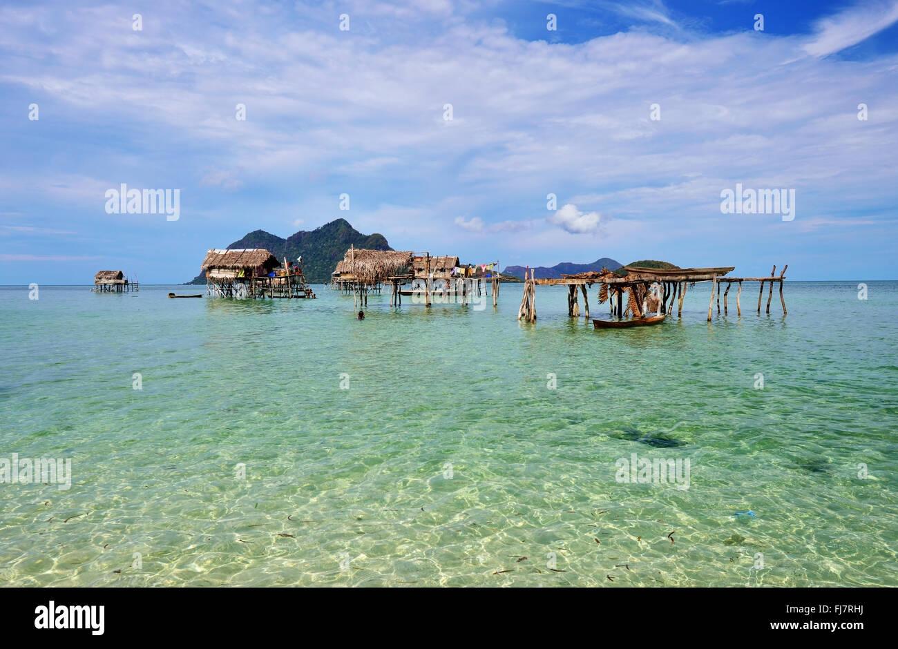Bajau laut stilt house village in Maiga island, Semporna, Sabah Borneo. - Stock Image