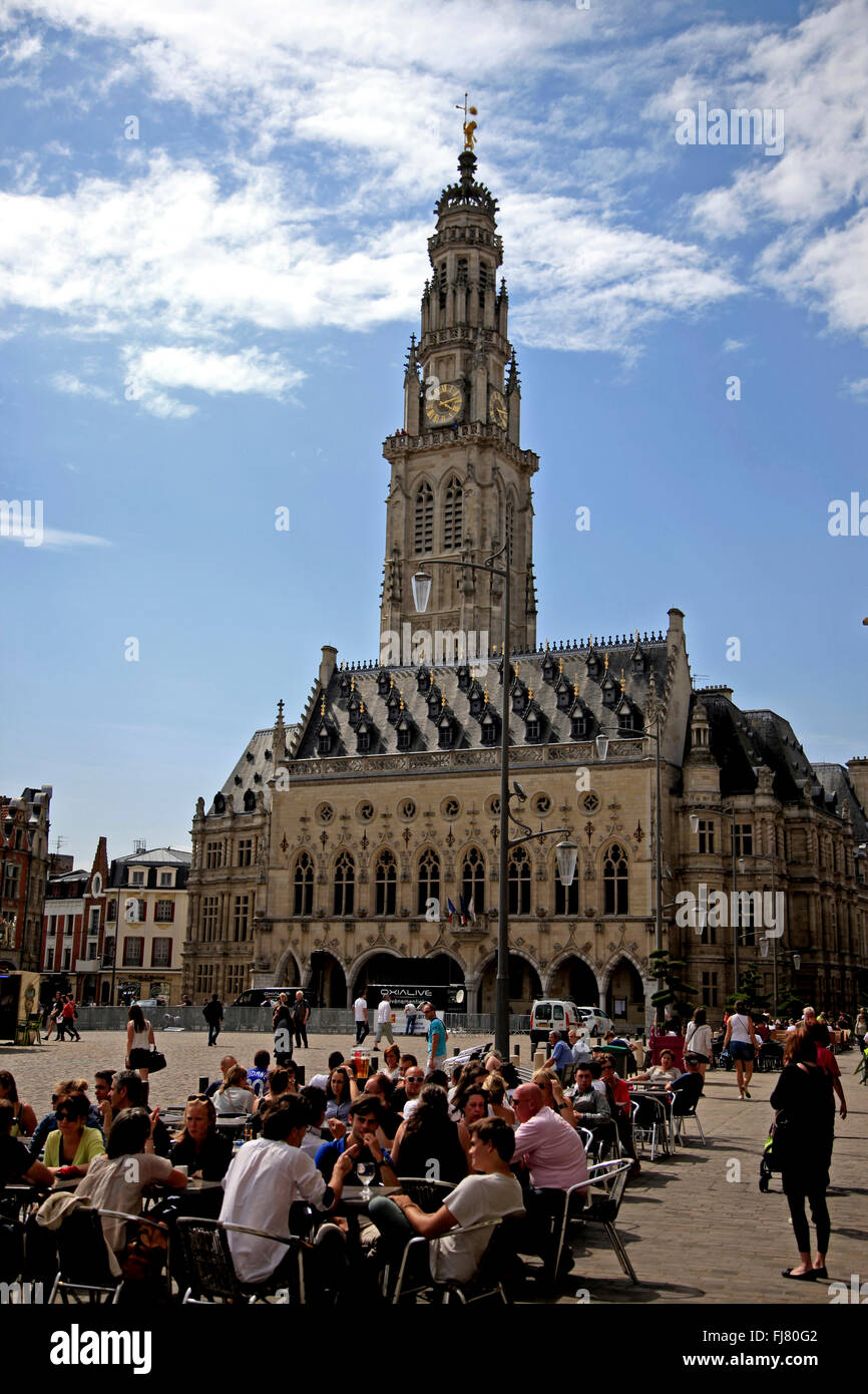 City Hall and Place des Heros, Arras, France - Stock Image