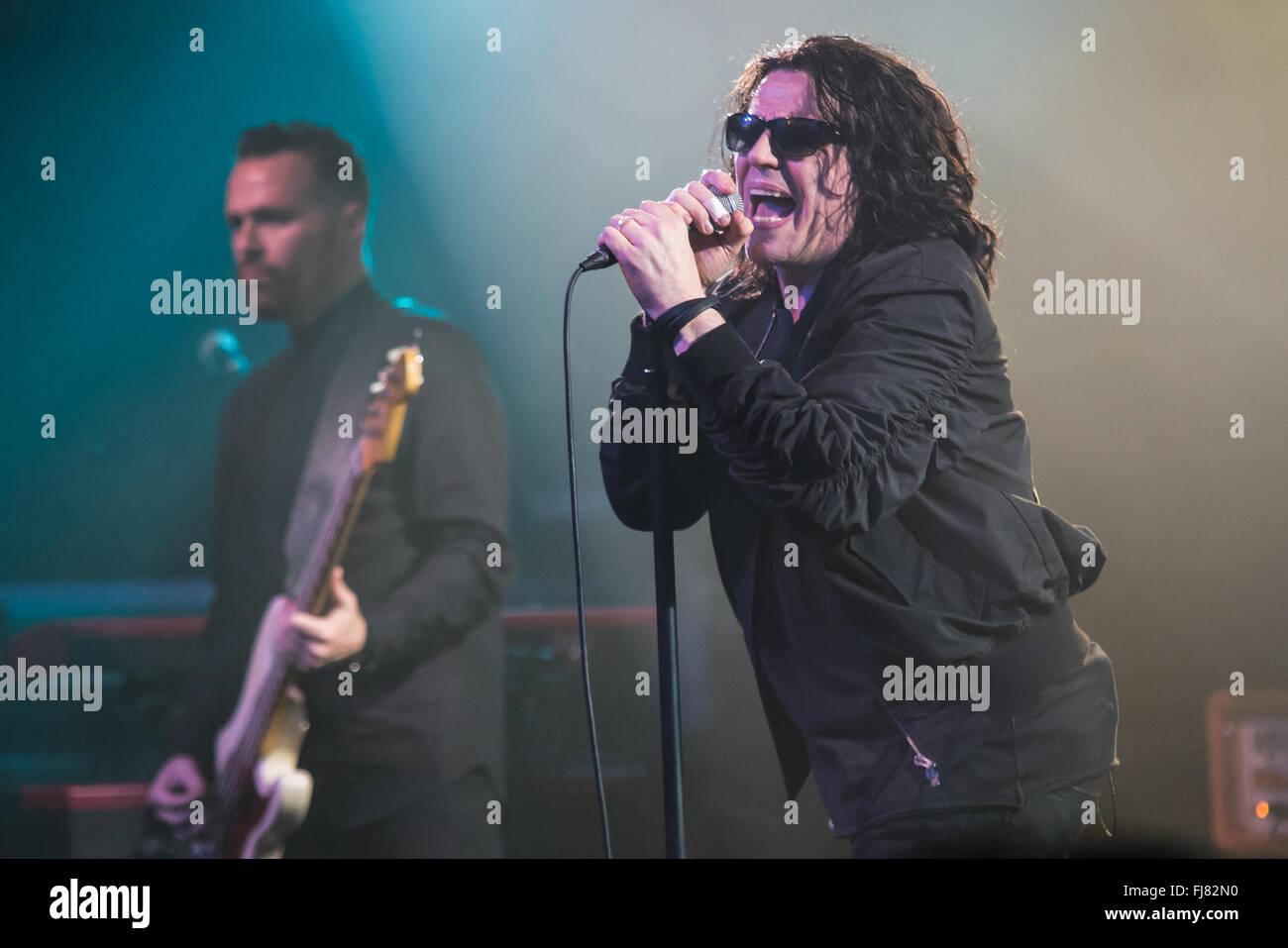 Nottingham, UK. 29th February, 2016. Ian Astbury of the British rock ...